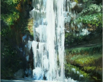 Hawaiian Waterfall - 24x48in Original Hawaii Oil Painting On Sale