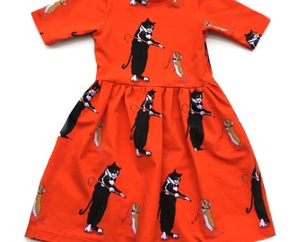 Short sleeve dancing cat & mouse dress