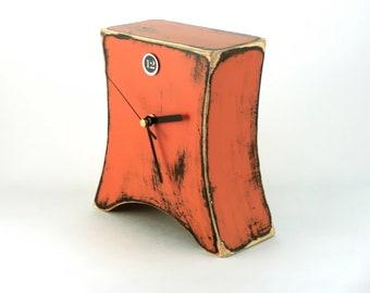 Desk Orange clock, Wooden Table Clock, Mantel Tangerine clock, Distressed clock, Cottage decor, Pumpkin color clock, Summer clock for home