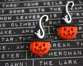 Pumpkin Earrings -- Pumpkin Studs, Orange Pumpkin Earrings, Halloween Earrings, Jack-o Lantern