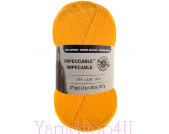 SUNNY DAY Impeccable Brights Yarn. Loops & Thread Solid Yellow yarn. Yellow Impeccable Yarn is a big 4.5oz ball. For hats, scarves and more.