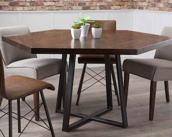 Hexagon Industrial Steel Pedestal Table