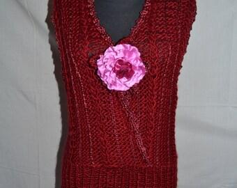 NEW! Vest tank top Burgundy knitting Fishnet vest knitting hand embroidery tank top Womens Knit Sweater Knitted bolero shrug Sleeevless Vest