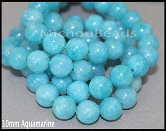 SAMPLE 3 Beads 10mm AQUAMARINE Gemstone Bead - Round Natural Dyed Gemstone Semi Precious Beads - Instant Shipping - DIY Jewelry Usa - 6955