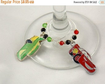 """Wine Charms Set of 2 Disney Inspired """"Cars"""" Handmade Swarovski Crystal His and Hers - Wedding Birthday Holiday Party"""