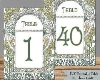 """Printable Table Numbers 1-40 Art Nouveau Gatsby Garden - 5x7"""" PDFs - Instant Download - Wedding Table Signs - DIY Ready to Print Yourself"""