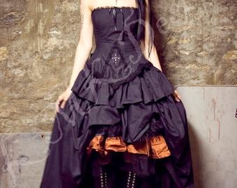 Steampunk Alternative Wedding Dress - Black Kirsten - Gothic Vampire Black Bridal Gown Cotton- Custom to Order