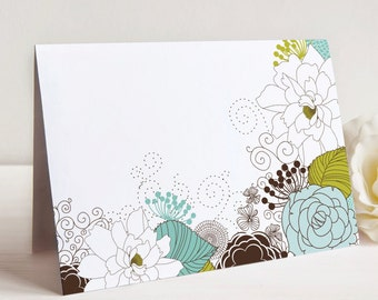 Sketched Floral Note Card, Set of 10, Just Because Note Card, Blank Card
