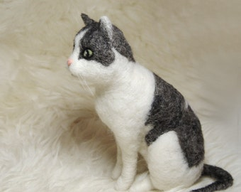 Needle Felted Cat, Custom Made Pet Sculpture, Handmade Animal, Commemorative Pet Portrait - made to order