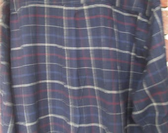 Men's Long Sleeve Cotton Shirt - Plaid - blue  plaid - XXL  - Long Sleeves -