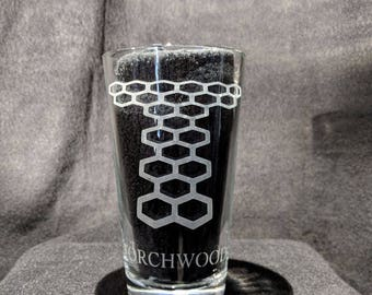 Torchwood Etched Pint Glass
