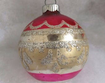Vintage Shiny Brite Christmas ornament, mercury glass ornament, stencil ornament, striped ornament, pink gold and silver glitter
