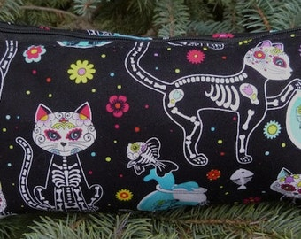 Day of the Dead Cats flat bottom bag, flat bottom pouch, knitting notions pouch, cat wedge bag, The Zini