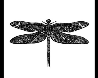 Dragonfly Black Freehand Ink Drawing Limited Edition Print, Signed, Numbered 8 in x 8 in