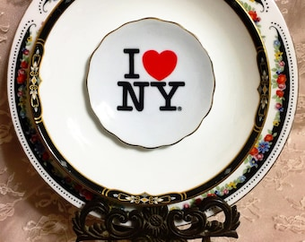 I Love New York • Vintage Repurposed Travel Wall Plate • Collector Plate • New York City • Big Apple