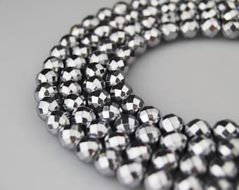 """Silver Plated Hematite Faceted  Round Loose Beads Size 8mm 15.5"""" Long Per Strand R-F-HEM-0104"""