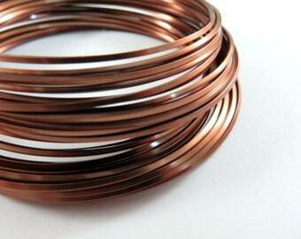 Square Antique Copper Wire Non-Tarnish 18 Gauge Soft Tempered - 21 feet - STR9058WR-ACSQ21