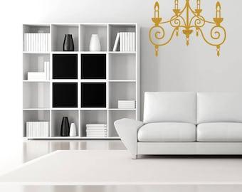 Gold chandelier vinyl sticker, Golden chandelier vinyl decal. Chandelier Wall Art. Chandelier silhouette gold home decor. Chandelier sticker