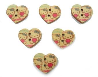 SET of 6 wood buttons: heart motif Kitty 17 mm (No. 05)