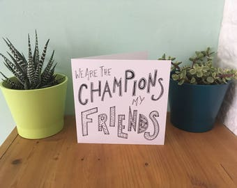 Champions - Lyric Greeting Card - Square - 14.5 x 14.5 cm - with envelope