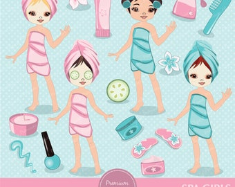 Spa girl clipart, Spa party clipart, Spa girl, Spa clipart, Girls spa party for personal and commercial use - CA124