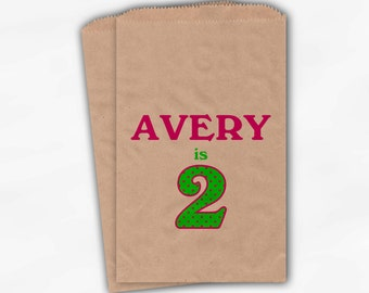 Girls Birthday Party Candy Favor Bags - Set of 25 Custom Age Pink and Green Kraft Paper Treat Bags for Kids (0007)