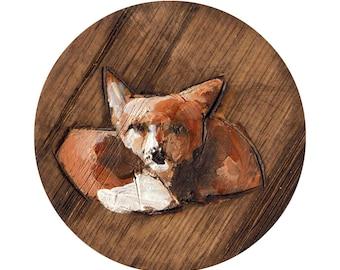 Fox Art Print, Fox Art , Fox Painting, Wooden Fox Art, Giclee Art Print