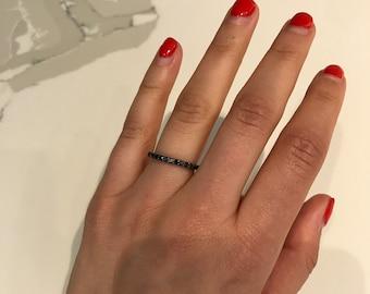 14k Black Diamond Stacking ring
