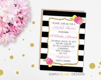 SALE Black and White Bridal Invitation, Modern Flower Bridal Invite, Baby Shower Invitation 5x7 Jpeg DIGITAL File