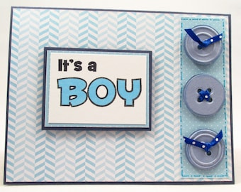 Baby card, handmade card, baby boy card, its a boy, welcome baby, baby arrival, new baby, baby shower, newborn card, MADE TO ORDER