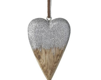 Wooden Half Dipped Silver Heart Decoration