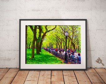 Central Park The Mall NYC Print, New York City Painting, Central Park Painting, Summer in the City, People of New York, Manhattan painting