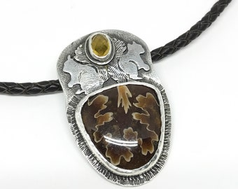 Squirrel Necklace, Fossil Ammonite, Yellow Sapphire, Sterling Silver, Acorn, Two-sided, Gift for Nature Lover, Handmade in NH, Leather Cord