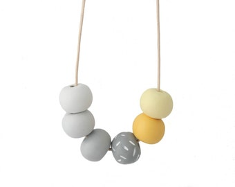 Yellow Necklace - Statement Necklace - Bead Necklace - Grey Necklace - Chunky Necklace - Long Necklace - Clay Necklace - Gifts for Her
