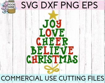 Christmas Word Tree svg dxf png eps Files for Cutting Machines Cameo Cricut, Cute, Girly, Winter, Joy, Believe, Peace, Noel, Santa, Reindeer