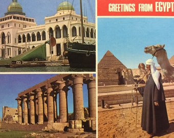 Vintage Postcard  Greetings from Egypt Over Size Postcard