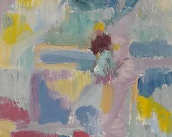 Allotments Edinburgh Scotland Abstract Oil Painting Garden Gardener