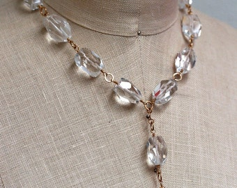 Quartz Crystal Drop Necklace with Gold Hammered Links and Handcrafted Clasp, Crystal Jewelry, Y Necklace