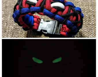 Ultimate Spider-Man Themed Paracord Bracelet with Glow in the Dark Eyes