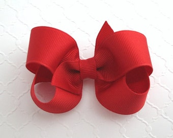 "3"" Red Boutique Hair Bow ~ Girls Christmas Hair Bow ~ Classic Hair Bow ~ Toddler Girl Hair Bows"