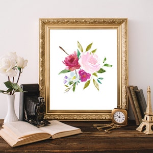 Floral Bouquet Art Print Shabby Chic Wall Decor Watercolor Garden Flowers Dining