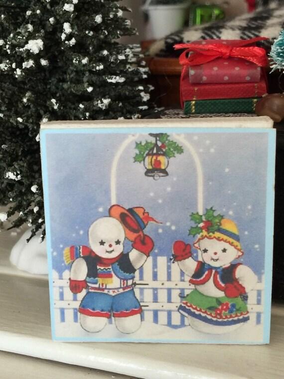 Miniature Snowman couple Winter Canvas picture-1:12 Dollhouseminiature