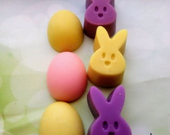 Scented Wax Melts~3 Mini- Peeps and 3 Eggs Shape Wax Melts - Tarts Melts -2.7.oz