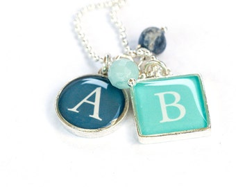 Two Initials Necklace   Initial and Birthstone Necklace   Initial Resin Necklace   Personalized Initial Charms