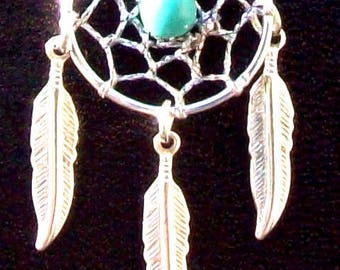 BLUE SKY ll -Dream catcher necklace with Turquoise, dreamcatcher necklace, silver feathers