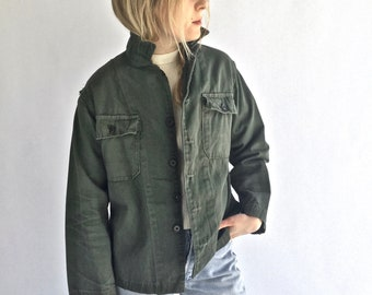 Vintage Olive Green Herringbone Twill Army Jacket | HBT Green Cotton Button Up Shirt | OG Green Cotton Shirt | Military Shirt Small