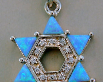 Large Star of David Sterling Silver  Opal and CZ Pendant.