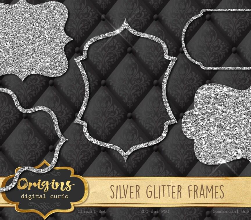 32 Silver Frames Clipart Silver Glitter Sparkle Bokeh Digital
