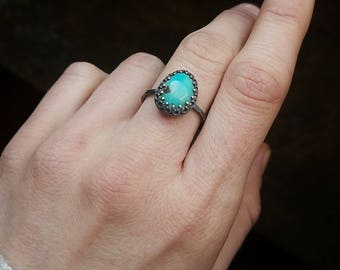 Silver turquoise ring, size 7.25