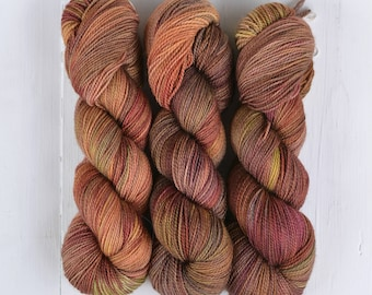 NEW COLORWAY! Hand Dyed Tough Sock Yarn - Bourbon
